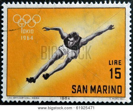 SAN MARINO - CIRCA 1964: A stamp printed in San Marino shows athlete