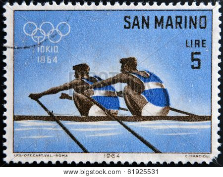 SAN MARINO - CIRCA 1964: A stamp printed in San Marino shows Dual Rowing