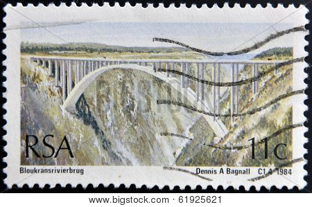 SOUTH AFRICA - CIRCA 1984: A stamp printed in RSA shows Bridge over the mountain gorge