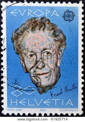 SWITZERLAND - CIRCA 1985: stamp printed in Switzerland shows Frank Martin circa 1985