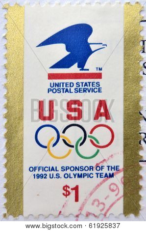 UNITED STATES OF AMERICA - CIRCA 1992: A stamp printed in USA devoted USPS