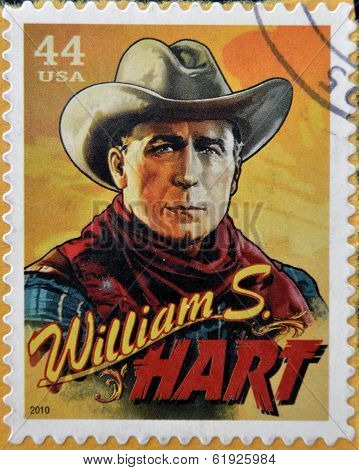 UNITED STATES OF AMERICA - CIRCA 2010: Stamp printed in USA shows silent film actor William S. Hart