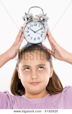 Beautiful Girl With Clock