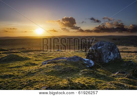 Sunset at Caradon Hill in springtime