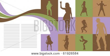 vector card with dancing people