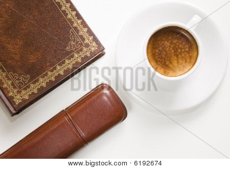 Coffee, Book And Glasses Case.