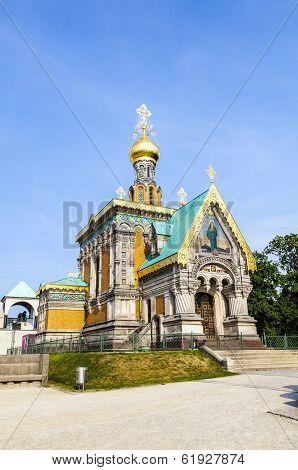 DARMSTADT, GERMANY - APR 3, 2012: orthodox russian chappel Darmstadt under blue sky