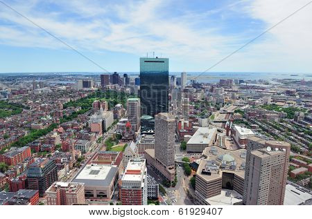 Boston downtown skyline aerial view with modern skyscrapers and street.