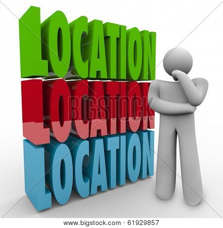 Location Words Thinking Person Wondering Where Best Place