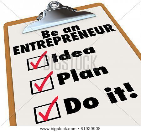Be an Entrepreneur Checklist Own Business Self Employment
