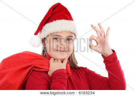 Beautiful Girl With Hat Of Christmas Saying Ok