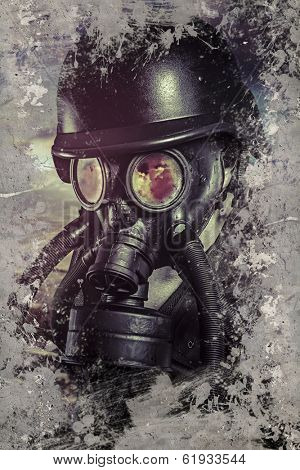 Man with gas black mask