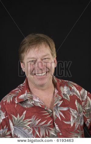 Happy Man In Hawaiian Shirt