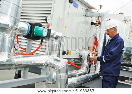 Portrait of senior adult smiling ventilaation electrician builder engineer