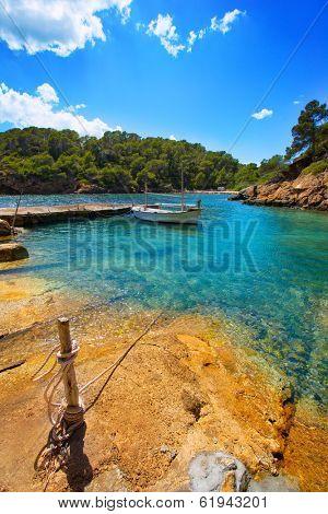 Ibiza Cala Mestella Mastella in Santa Eularia des Riu at Balearic islands