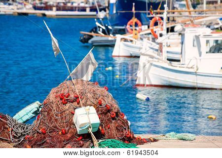Fishing tackle in Formentera Mediterranean Balearic islands of Spain
