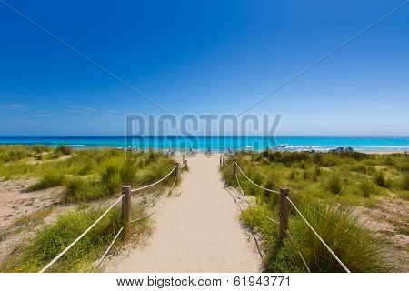 Alaior Cala Son Bou in Menorca turquoise beach at Balearic islands