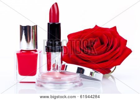 Fashionable Cosmetics With A Fresh Red Rose