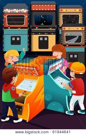 Kids Playing Arcade Games