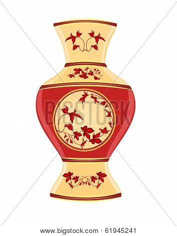 Vase porcelain whit red flowers