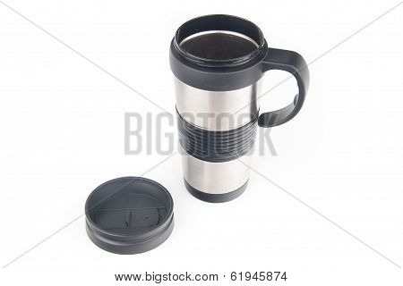 Metal coffee mug, isolated on white background