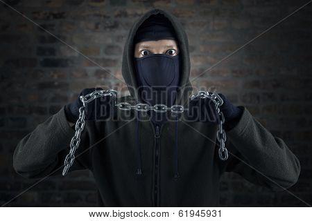 Dangerous Murderer Holding Chain