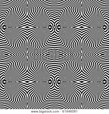 Design Seamless Uncolored Vortex Pattern. Abstract Striped Lines Textured Background