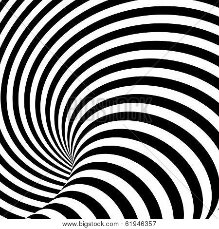 Design Uncolored Whirlpool Motion Illusion Background. Abstract Striped Distortion Backdrop