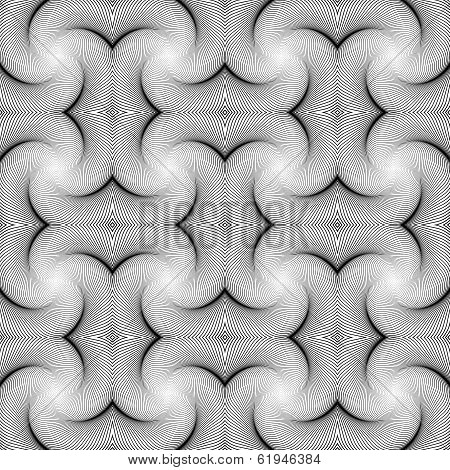 Design Seamless Swirl Movement Strip Pattern. Abstract Monochrome Waving Lines Background