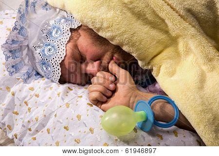 Man weared as baby sleeping