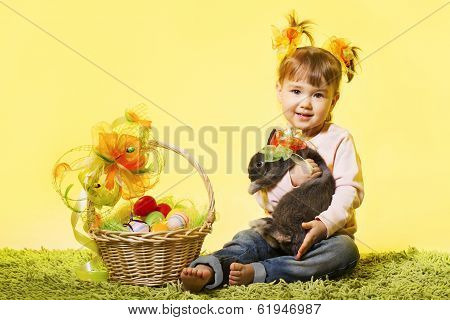 Easter Little Girl, Kid Holding Bunny Rabbit Basket Eggs Over Yellow Background