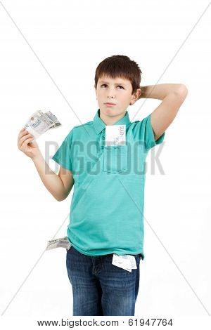 Boy Holding Czech Crown Banknotes