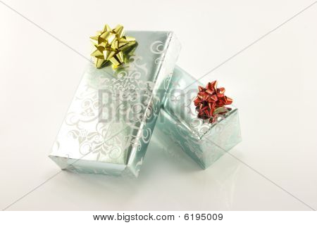 Two Silver Wrapped Gifts