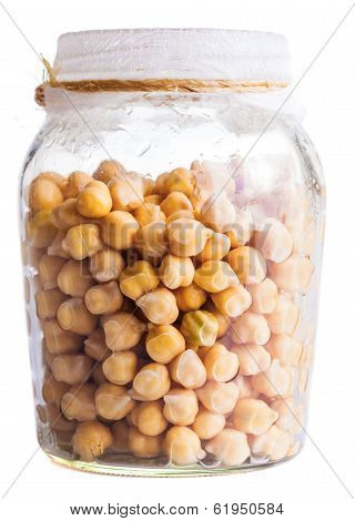 Wet Sprouting Chickpeas In A Glass Jar