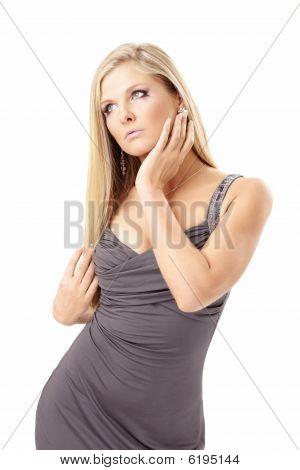 Seductive Blonde In A Dress