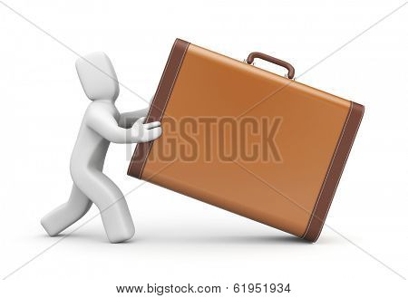 People with vintage suitcase