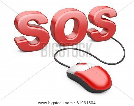 Computer Mouse Connected To The Word Sos - Internet Concept