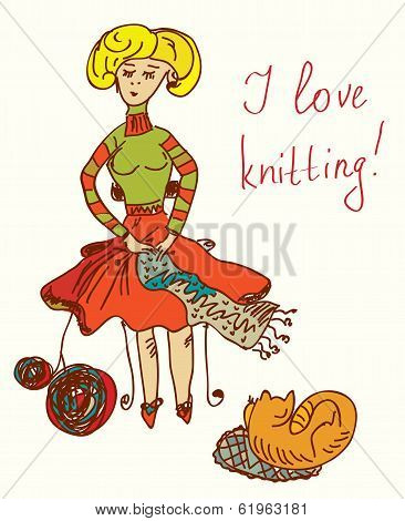 I love knitting card with funny woman cute