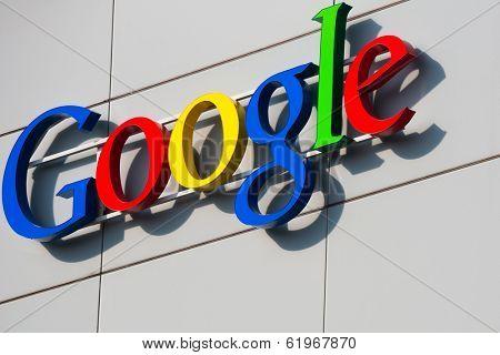 ZURICH, SWITZERLAND - MARCH  14, 2014: Google Corporation Building sign.