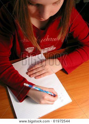 Young girl studying, homework