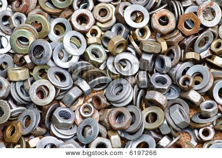 Nuts And Washers In A Drawer Of Hardware.