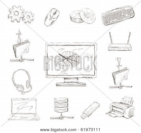Business Computer Icons Set