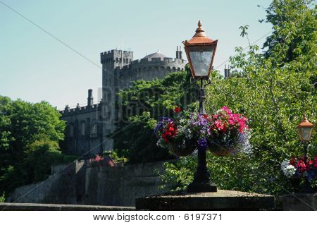 Flowers And Lantern In Front Of Old Irish Castle