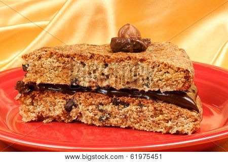 Slice Of Hazelnut And Chocolate Cream Cake