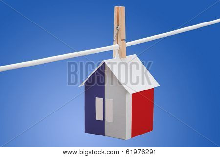 France flag on paper house