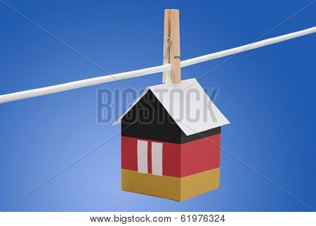 Germany flag on paper house