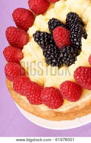 Custard Tart With Raspberries And Blackberries