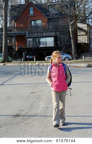 School girl walking