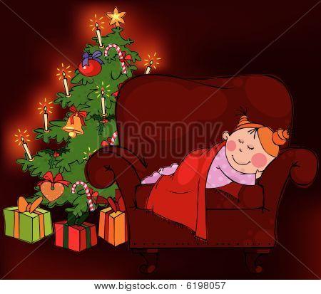 Little girl waiting for Santa