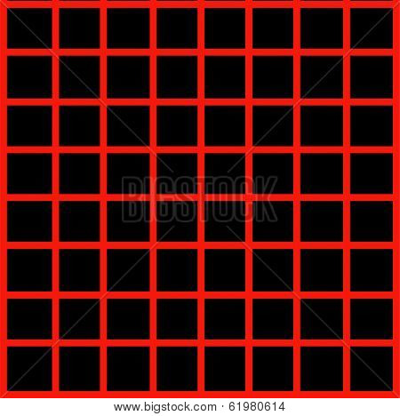 Optical illusion with maroon lines on black